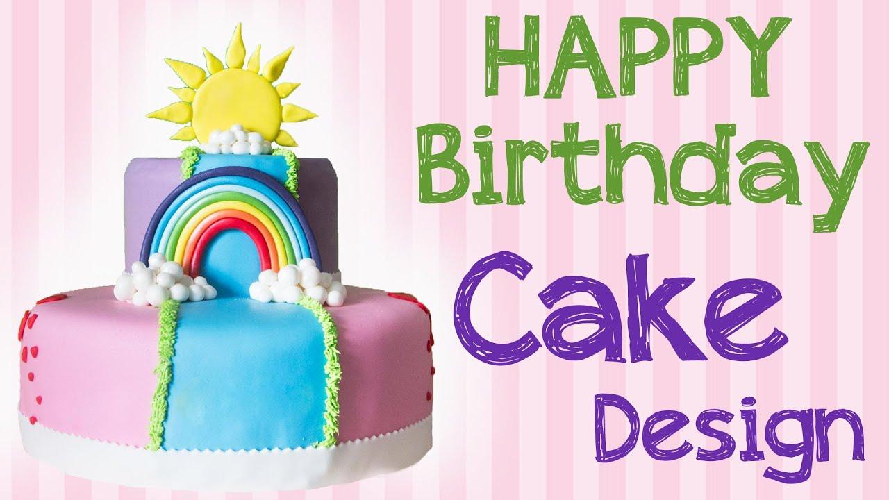 Torta di compleanno per bambini con arcobaleno e nuvolette for Torta di compleanno per bambini