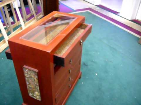 Chinese Red Six Drawers Display Case Cabinet S1743