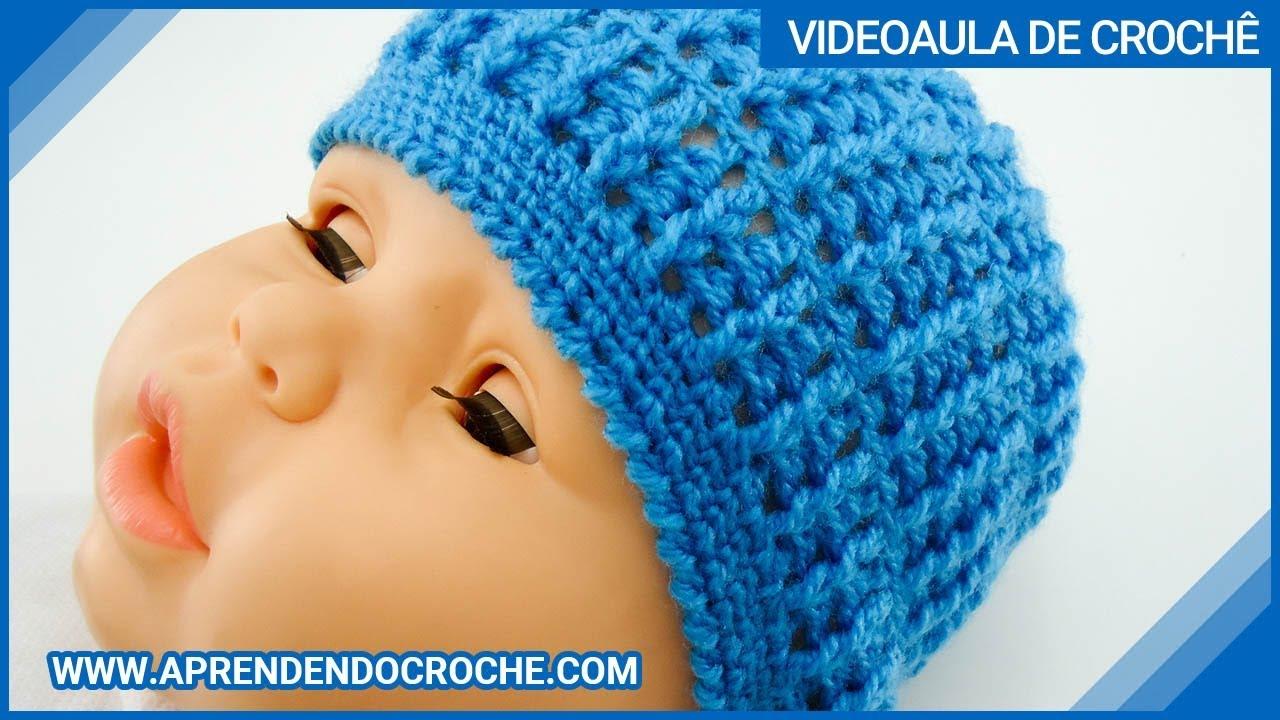 Gorro de Crochê Bebê Waffles - Aprendendo Crochê - YouTube d5891c1cf9e