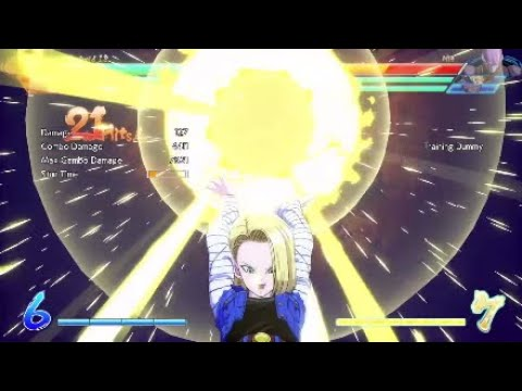 DBFZ Android 18 Beam Assist Combos + CMD Grab Routes