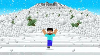 Surviving THE BIGGEST SNOW AVALANCHE In Minecraft!