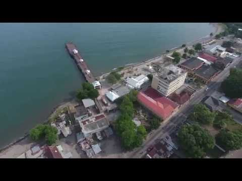DJI Drone  Flying over La Ceiba Honduras in 4K