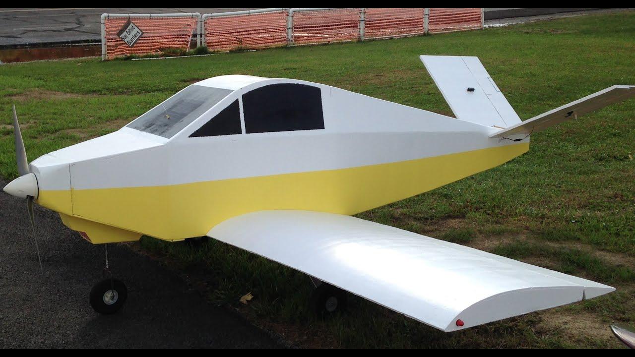"100"" Giant Foam Rc Davis DA-2 scatch built ""Maiden Flight"" - YouTube"