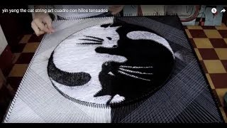 yin yang the cat string art cuadro con hilos tensados