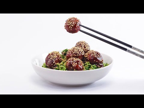 Hoisin Meatballs and Green Rice with Sesame