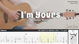 I'm Yours - Jason Mraz | Fingerstyle Guitar | TAB + Chords + Lyrics