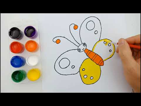 Learn Colors with Drawing Coloring Butterfly for Kids Colors for Children How to drawing Butterfly