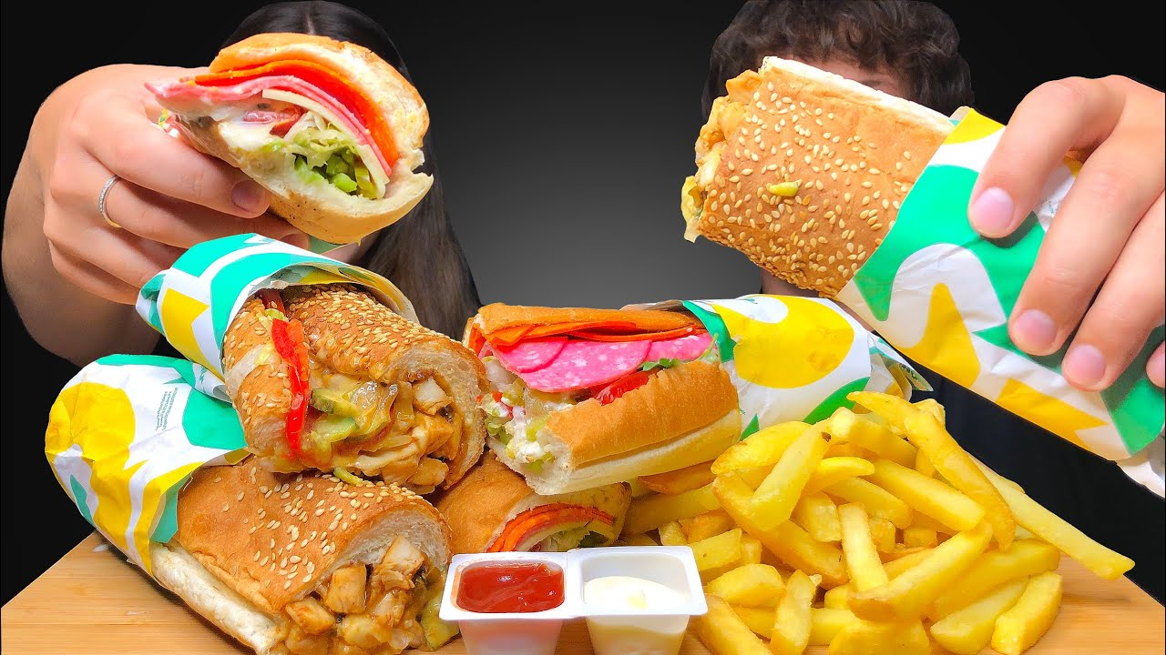 ASMR SUBWAY! Chicken Teriyaki & Spicy Italian Sandwiches Mukbang Eating Sounds 먹방 Tati ASMR