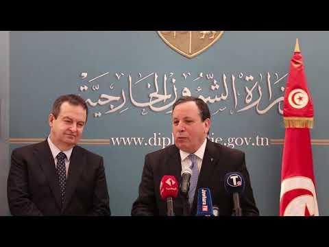 مؤتمر صحفي مشترك لوزير الشؤون الخارجية خميّس الجهيناوي ونظيره الصربيIvica Dacic