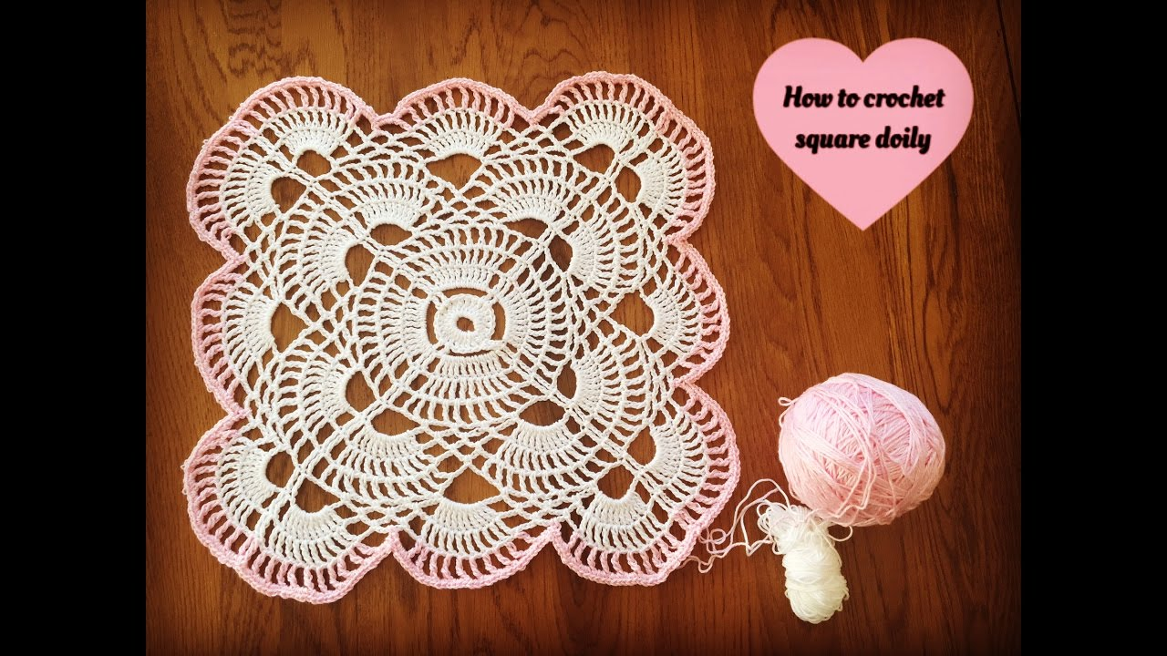 How to crochet square doily - YouTube