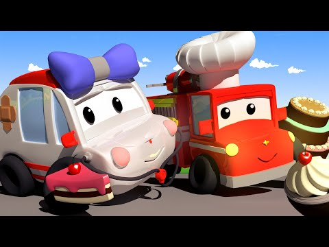 Let's clean up the CAKE FIGHT mess! Tiny Town: Street Vehicles Ambulance Police Car Fire Truck