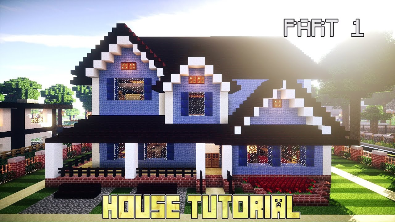 Minecraft Blue House Tutorial Part 1 Youtube
