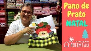Faça um Pano de Prato com patchapliquê do Papai Noel