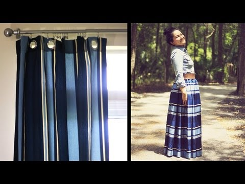 DIY HOW TO MAKE MAXI SKIRT FROM CURTAINS