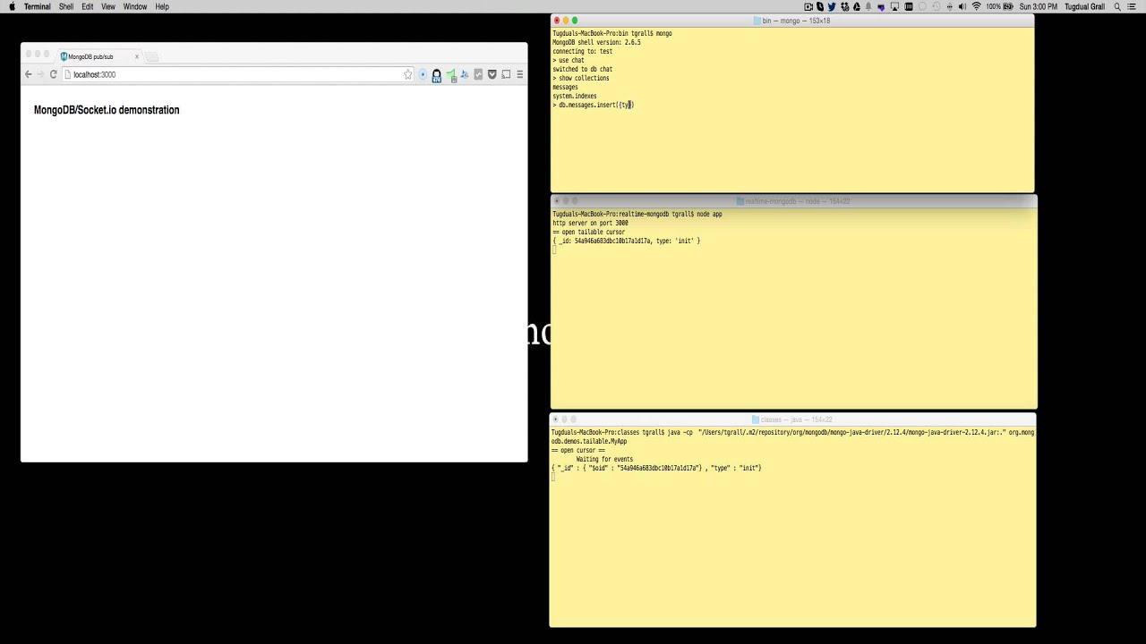 MongoDB Tailable Cursor Web Socket Demo