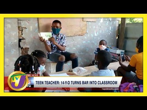 Jamaican Teen Teacher   14 Yr Old Turns Bar into Classroom   TVJ News