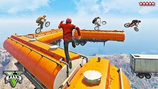 GTA 5 Online EXTREMELY Hard BMX Racing | EPIC PARKOUR RACE | So Many Falls | GTA 5 Funny Moments PS4