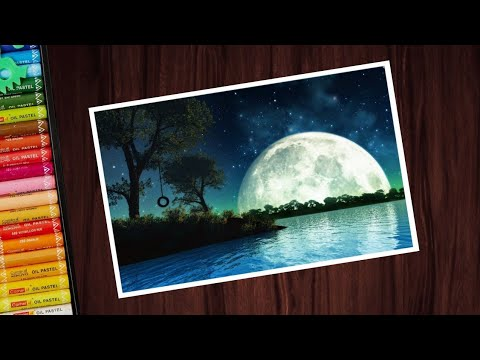 Beautiful Moonlight Scenery Drawing With Oil Pastels For Beginners - Step By Step