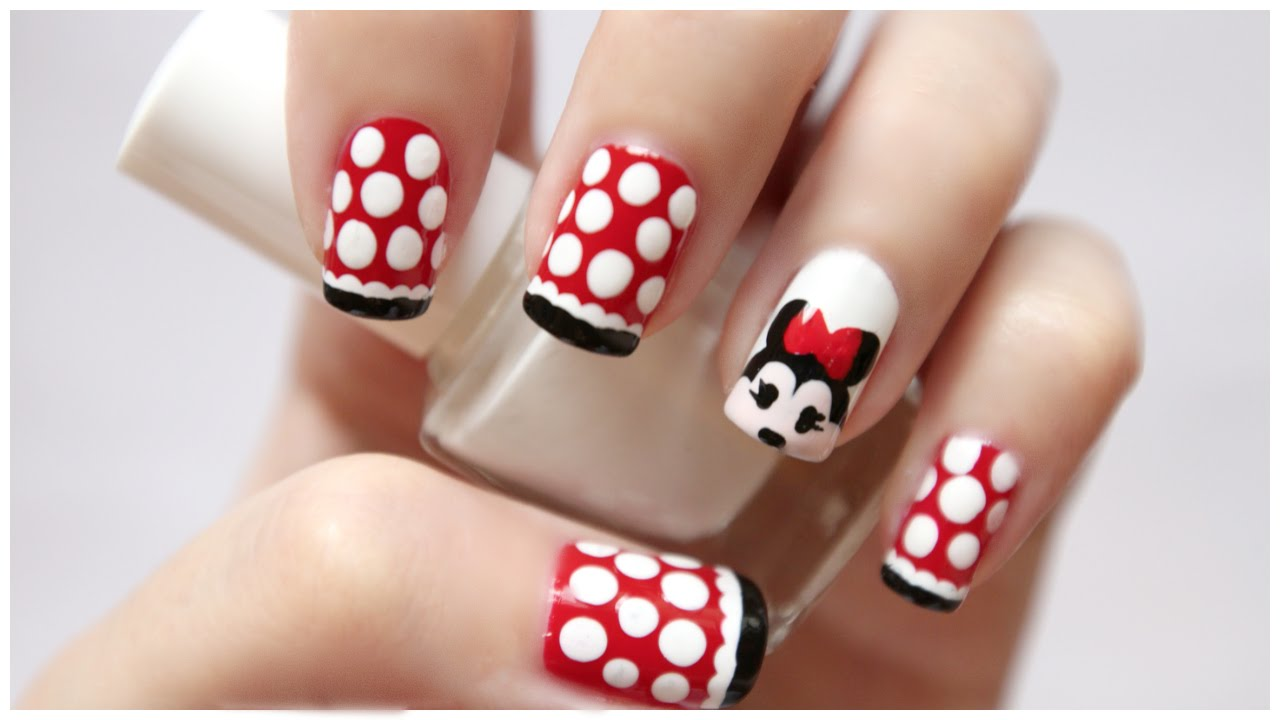 - Disney Minnie Mouse Nail Art! MissJenFABULOUS - YouTube
