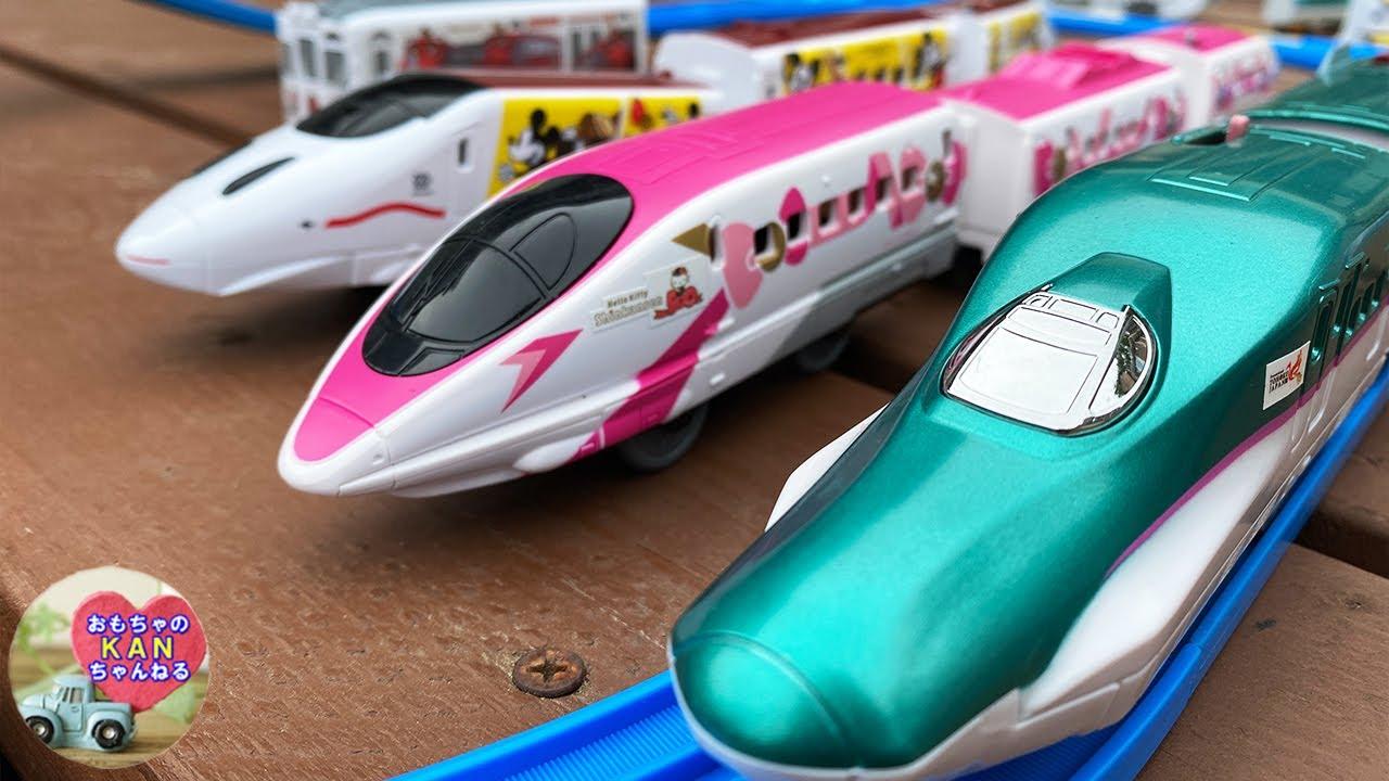 新幹線 プラレール はやぶさ & JR日本の電車、ミッキーマウスとハローキティのしんかんせん【ウピさん&upisch】