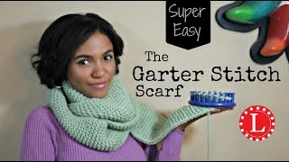 LOOM KNIT Scarf on Round Loom for Beginners - NO CURLING - Easy Garter Stitch | Captioned | Loomahat