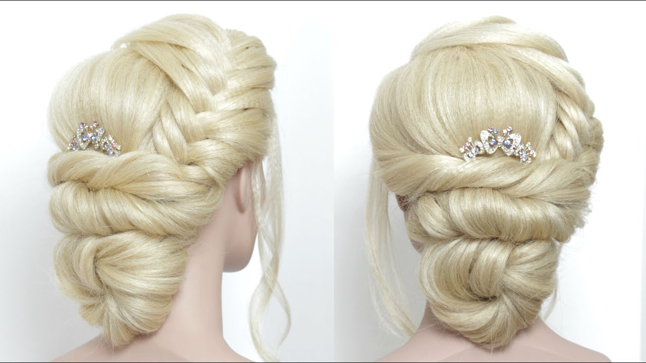 Wedding Hair Tutorial. Prom Bridal Updo - YouTube