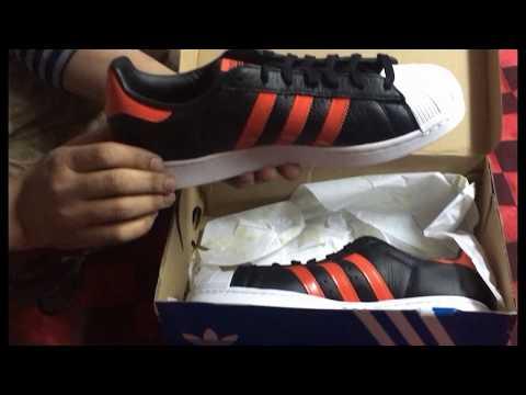 adidas-superstar-red-black-white-unboxing-orange-shoes