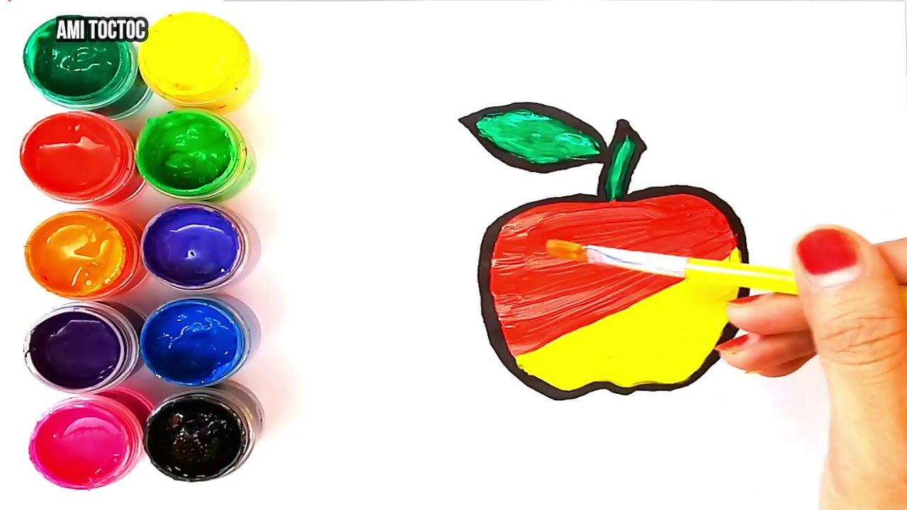 Glitter Craft Apple Coloring And Drawing Decorate With Beads
