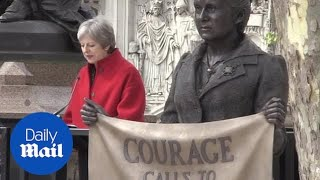 Statue of suffragist leader Millicent Fawcett is unveiled - Daily Mail