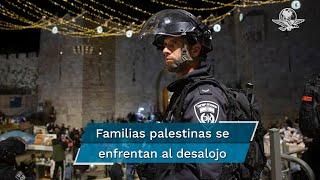 Las manifestaciones de palestinos que se viven desde hace semanas son contra los planes de expulsión de familias palestinas del barrio de Sheij Jarrah, en beneficio de colonos israelíes