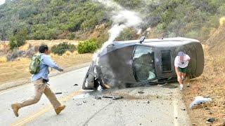 Car Crashes Hard into Hillside - 4K UHD