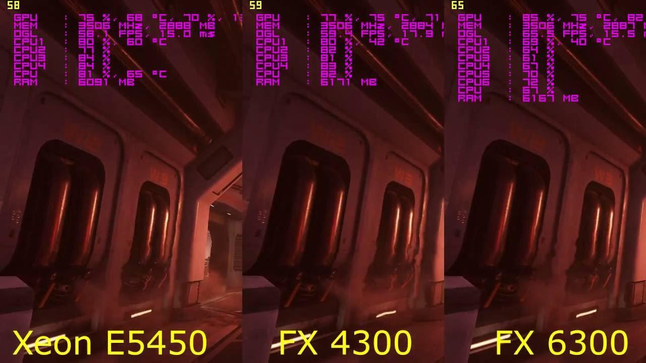 Test 2 0 Doom4 Xeon E5450 vs FX 4300 vs FX 6300 + GTX 970