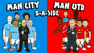 🔵MAN CITY vs MAN UTD🔴 5-A-SIDE! 2-3?!