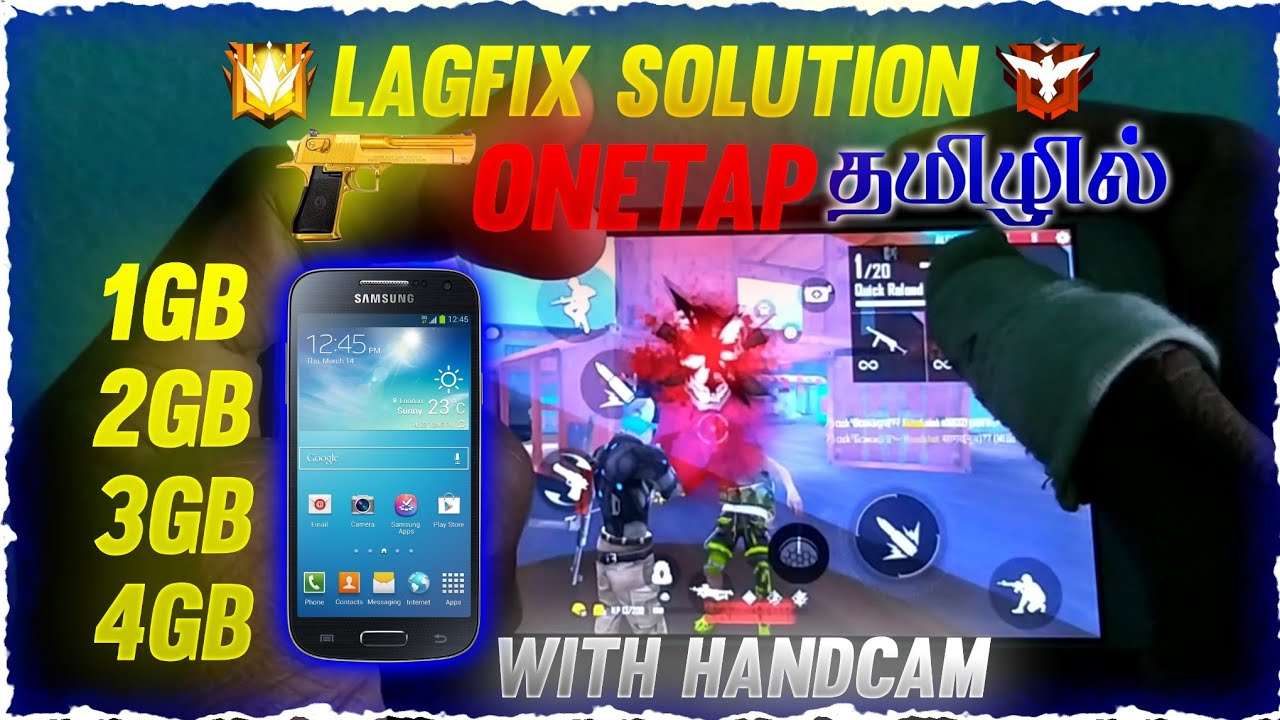 1GB,2GB,3GB Ram Mobile lagfix Solution with Handcam Onetap Head Shot Trick tamil