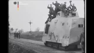Редкие кадры танка Sturmpanzerwagen A7V - 1918 год.