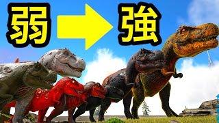 ティラノサウルス強さ7段階!普通→アルファ→◯◯→神サウルス!?【ARK】実況