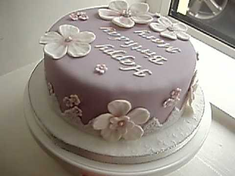 Lilac Fondant Birthday Cake Youtube