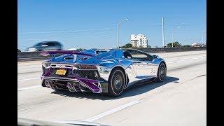 BEST of Supercar SOUNDS Accelerations RACING Revs Aventador Flames - Lamborghini Miami Lifestyle thumbnail