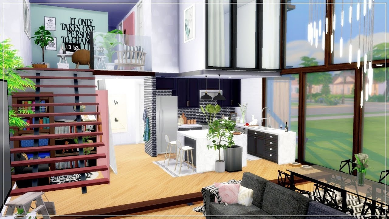 The Sims 4 French Aesthetic Loft Apartment House Speed