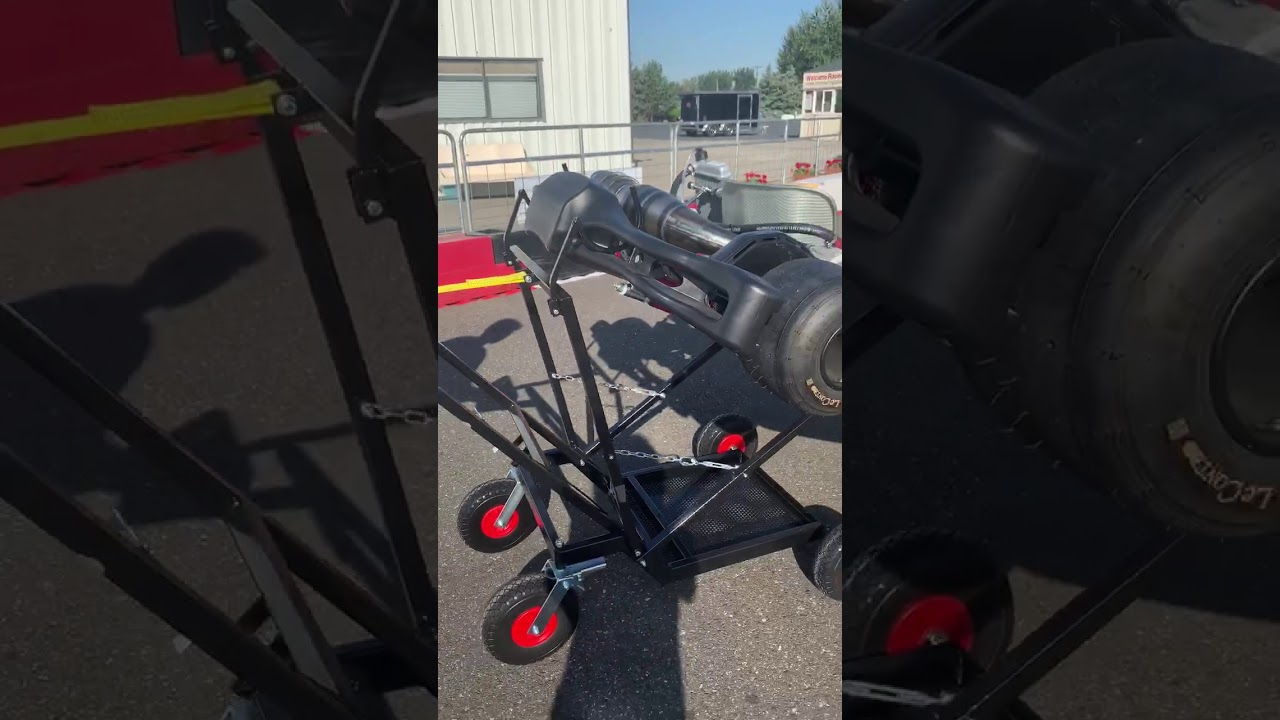 """IM Black Semi-Automatic Kart Stand with Hand Winch and Hooks /<font color=/""""red/""""/>"""