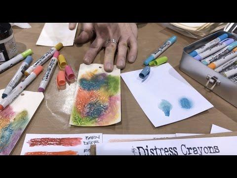 Tim Holtz demos Distress Crayons over Crazing - Creativation - CHA 2017