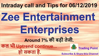 Zee Entertainment share latest updates. ZEEL share Intraday levels and Tips for 06/12/2019.