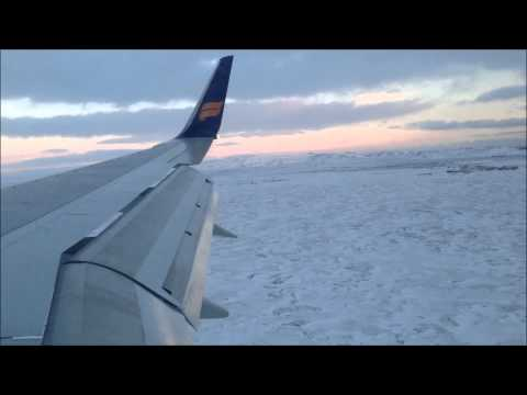 Flying over Reykjavik Iceland