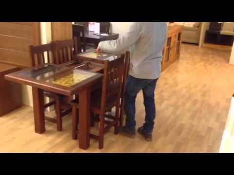 Oferta comedor mesa de madera extensible con cristales for Comedor 10 sillas oferta