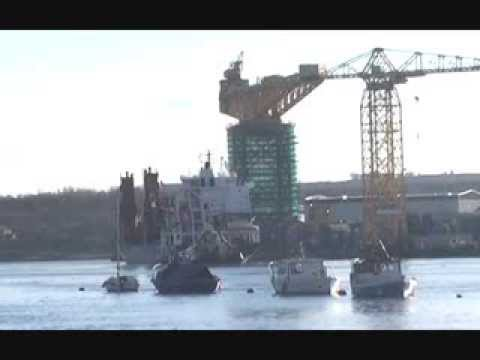 Cargo Ship Industrial Dream arriving at the Offshore Technology Park Newcastle 3rd March 2014