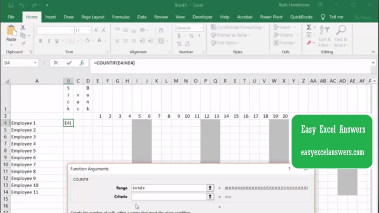 Create A Yearly Leave Tracker For Employees Youtube