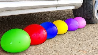 Crushing Crunchy & Soft Things by Car! - EXPERIMENT: CAR vs WATER BALLOONS