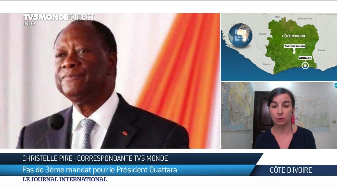 Côte d'Ivoire : Alassane Ouattara renonce à briguer un 3e mandat de  président en 2020 - YouTube