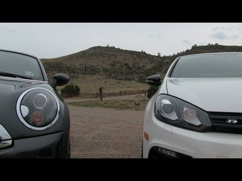 VW Golf R vs MINI Cooper S Coupe 0-60 MPH mile high Mashup Review