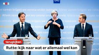Terugkijken: Persconferentie Rutte en De Jonge: 'Situatie nu niet alarmerend, blijft spannend'
